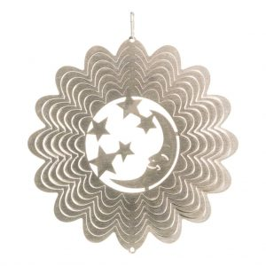 Silver moon wind spinner 15cm
