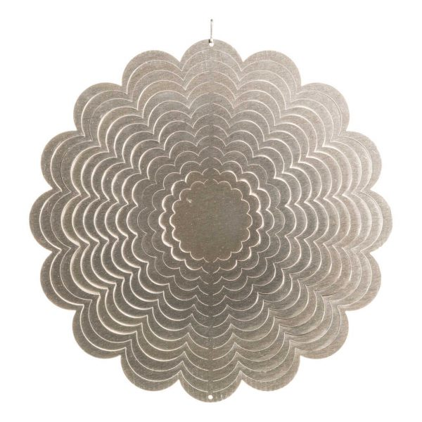 Silver flower wind spinner