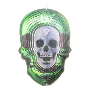Green skull wind spinner 30cm