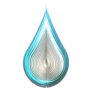 Silver blue drop wind spinner 30cm