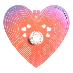 Red crystal heart wind spinner 30cm