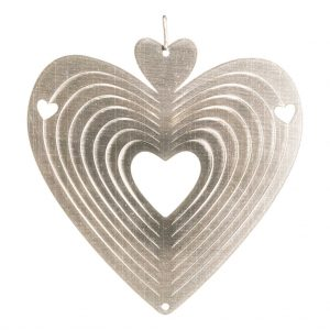 Silver heart wind spinner 15cm