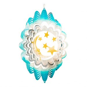 Blue and gold moon windspinner  30cm