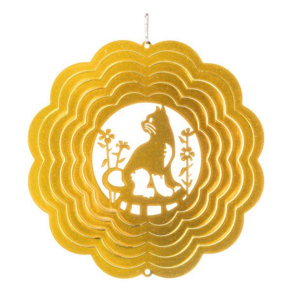 Golden cat wind spinner 15cm