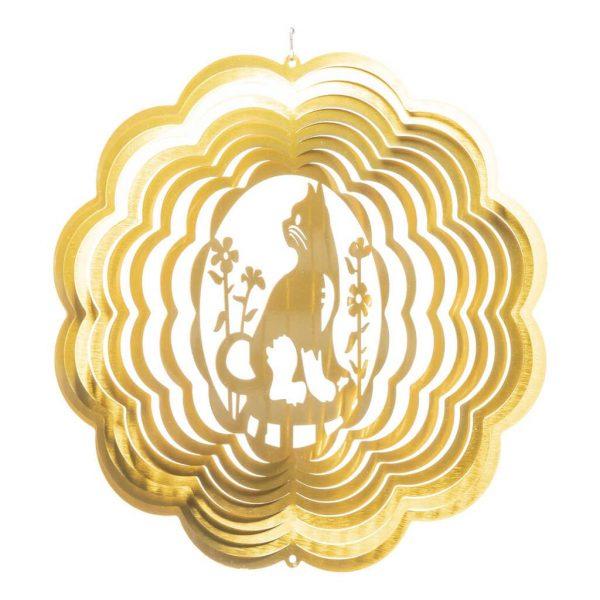 Golden cat wind spinner 30 cm open