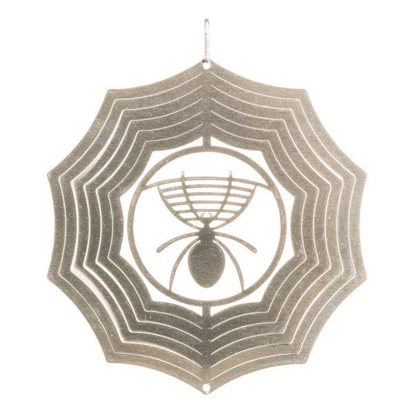 Silver spider wind spinner 15cm