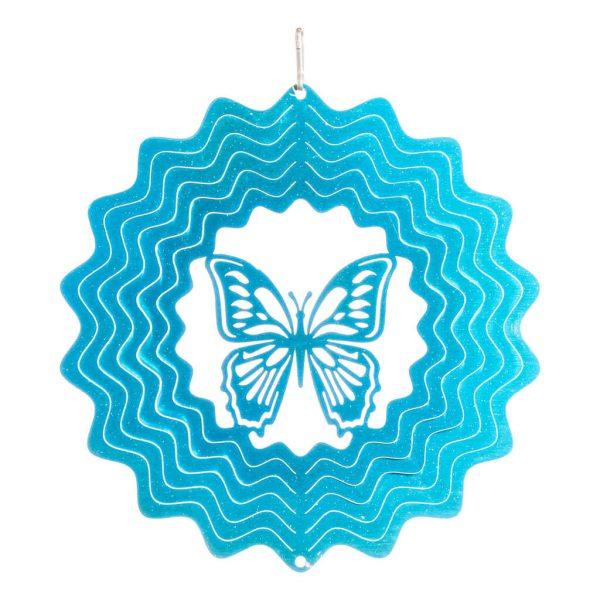 Blue butterfly wind spinner 15cm