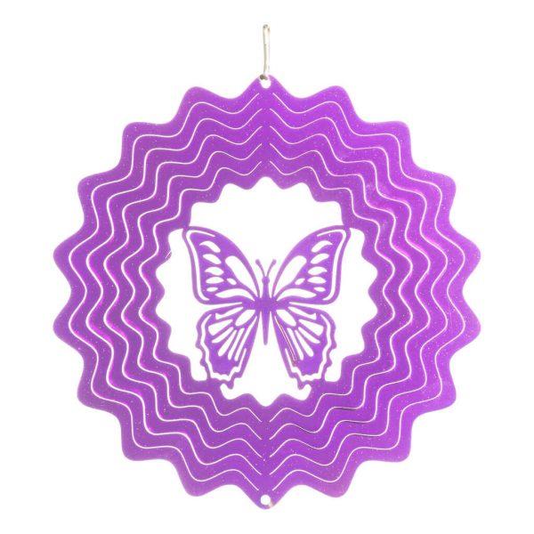 Purple butterfly wind spinner 15cm