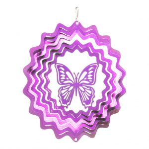 Purple butterfly wind spinner 15cm