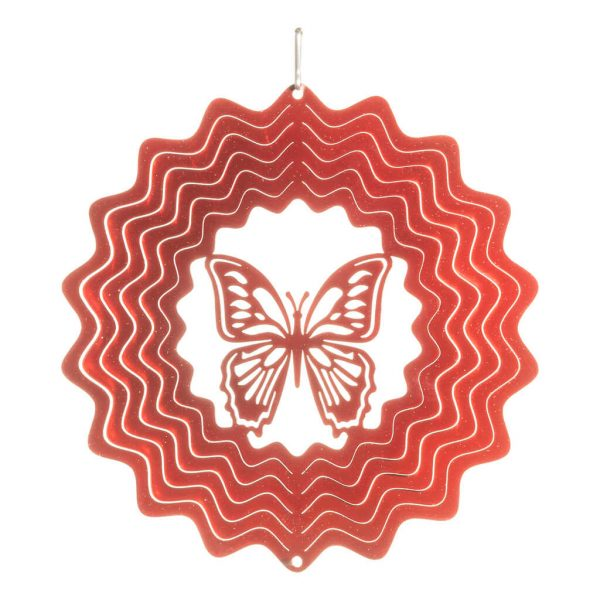 Red butterfly wind spinner 15cm
