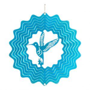 Blue hummingbird wind spinner 15cm