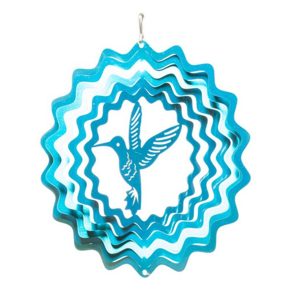 Blue hummingbird wind spinner 15cm