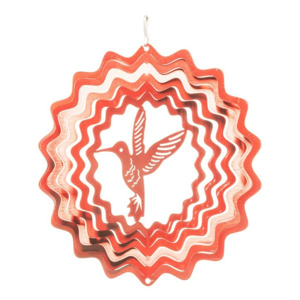 Red hummingbird wind spinner 15cm