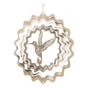 Silver hummingbird wind spinner 15cm