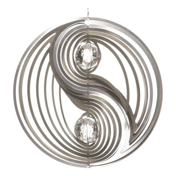 Silver Yin Yang with crystals wind spinner 30cm