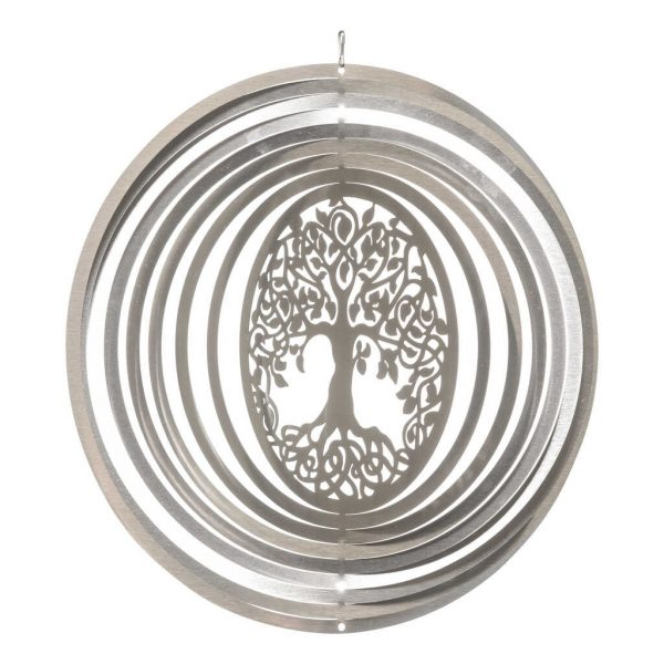 Silver Tree of Life wind spinner