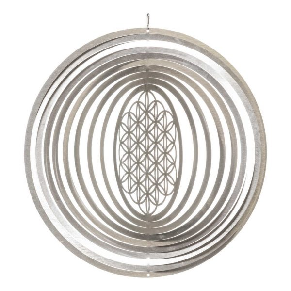 Silver Flower of Life wind spinner 30cm