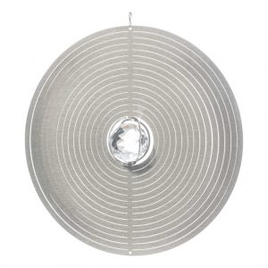 Silver circle with crystal wind spinner 30cm